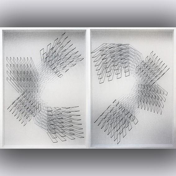 Emanuela Fiorelli-Fuga dal centro-Fuga nel centro-dittico - cm 110x160 - 2013