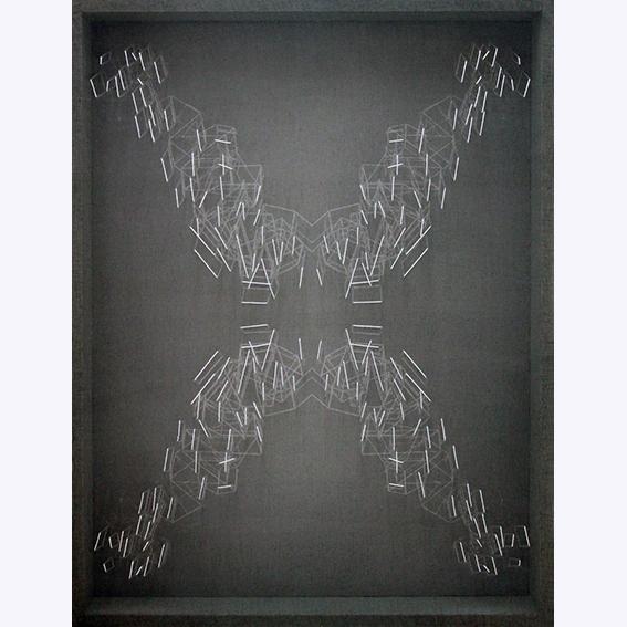 Speculare inverso - cm 90x70x10,5 - tarlatana tinta e filo di cotone su tela serigrafata- 2014