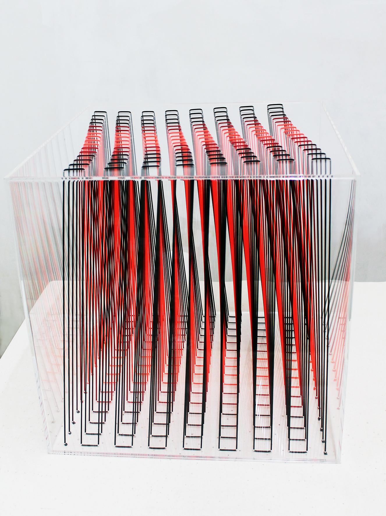 sculptur box 13 -50x50x50 - 2018 plexiglass e filo elastico di tre colori